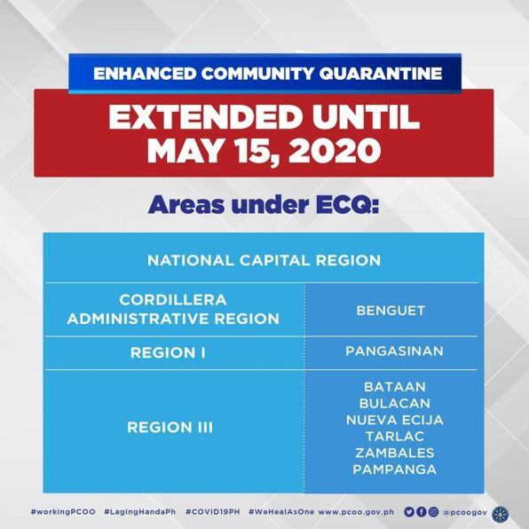 Here for the List of Areas Covered by the Extended ECQ Until May 15, 2020