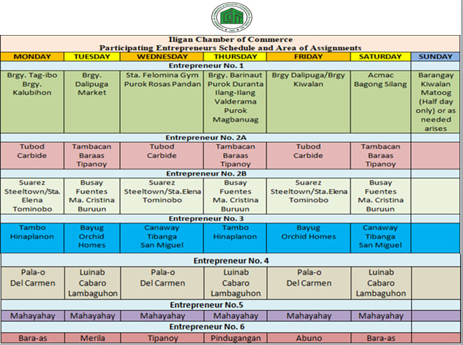 schedule and area of assignments