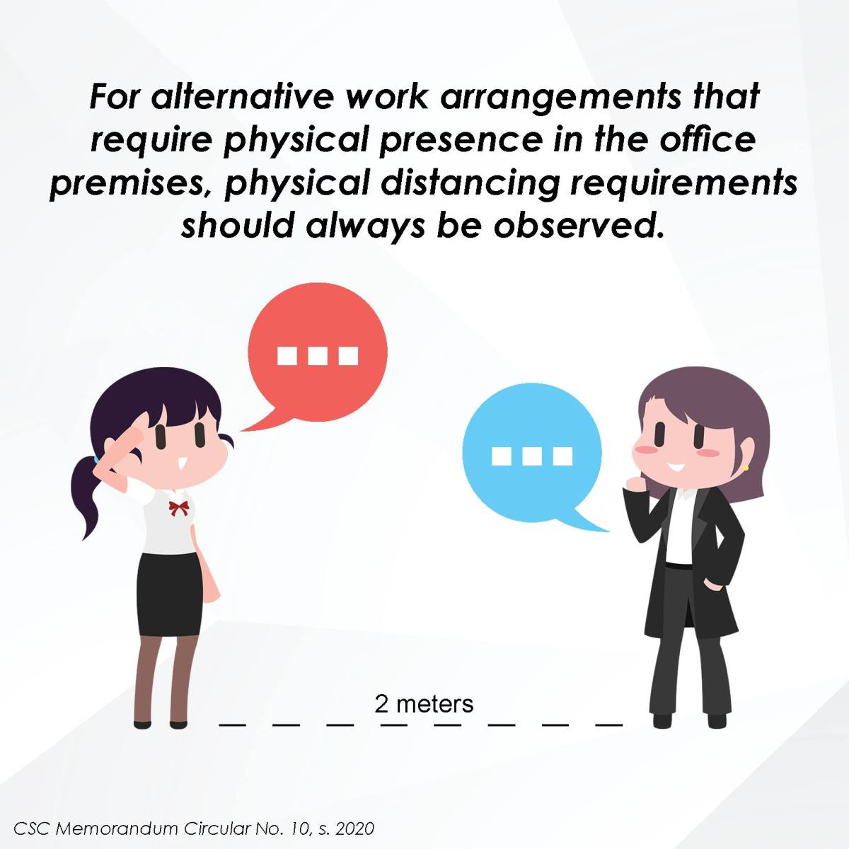 For alternative work arrangements that require physical presence