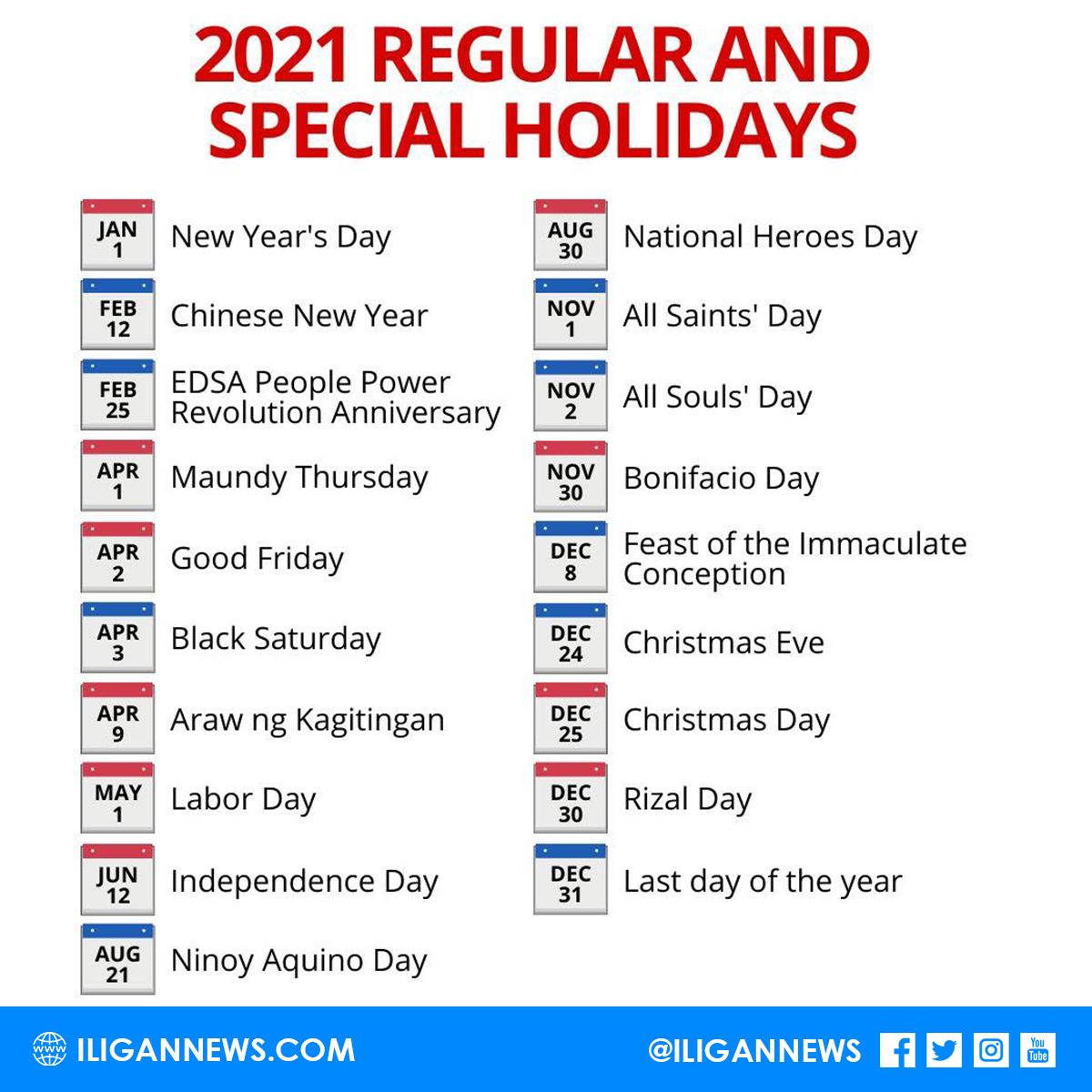 2021 holidays