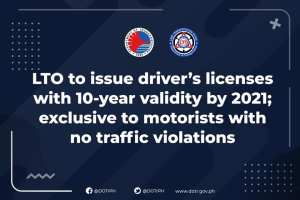 LTO TO ISSUE DRIVER'S LICENSES WITH 10-YEAR VALIDITY BY 2021