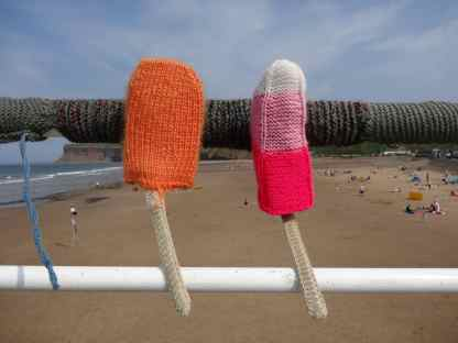 Knitted lollies - Saltburn-by-the-Sea