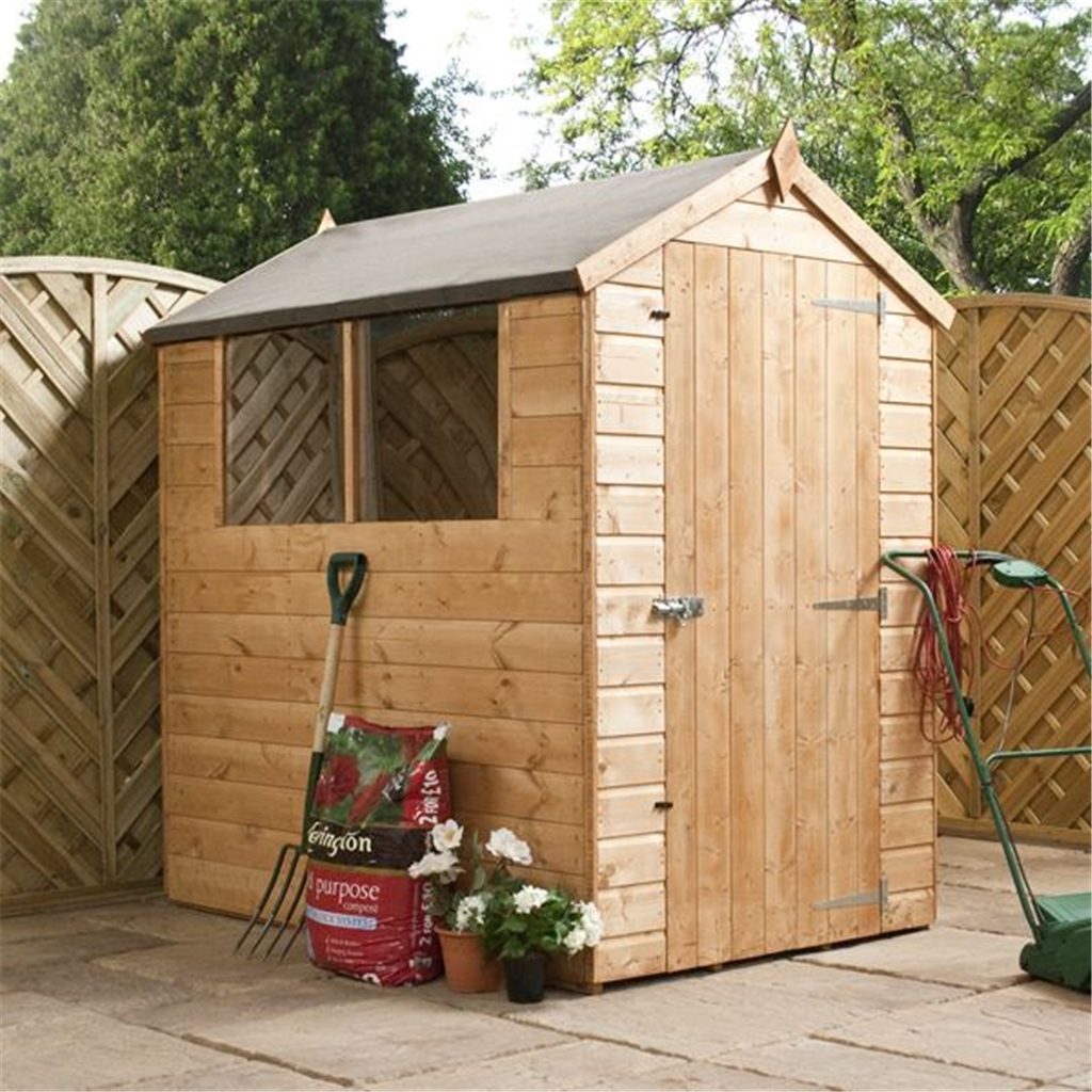 INSTALLED 6 X 4 Tongue And Groove Apex Wooden Shed
