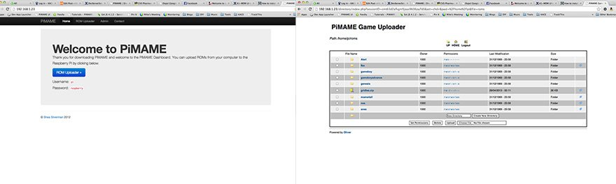 PiMame comes with a web interface for uploading game ROMS.