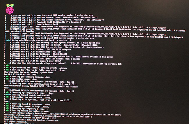 This is what you'll see if the Raspberry Pi starts successfully.