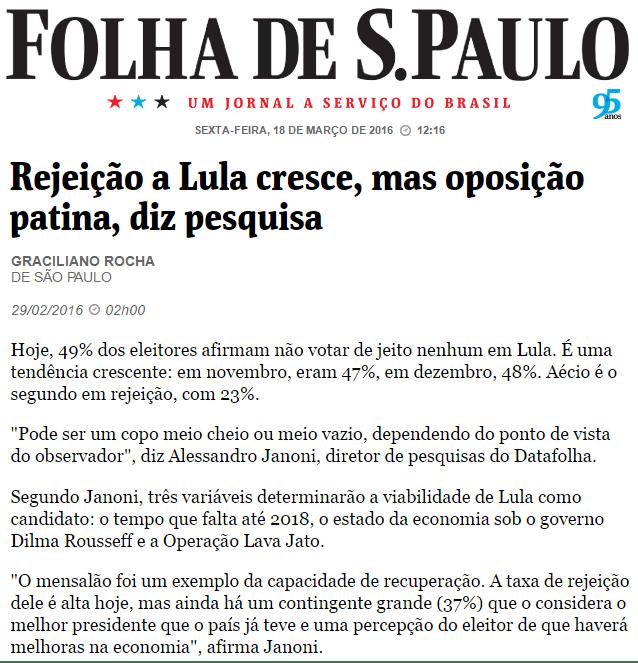 Pesquisa Datafolha mostra a informação que Lula menciona em áudio