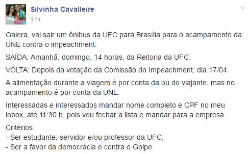 UNE oferece ônibus de universidade estatal cearense para quem for defender Dilma em Brasília