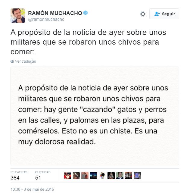 Mensagem do prefeito de Chacao, Ramón Muchacho