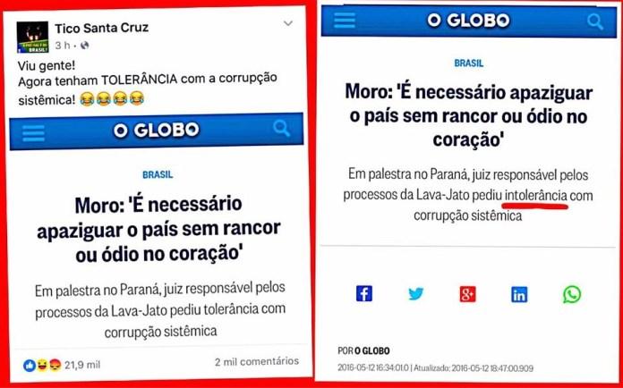Tico Santa Cruz e a manipulação de manchetes. Fonte: Socialista de iPhone