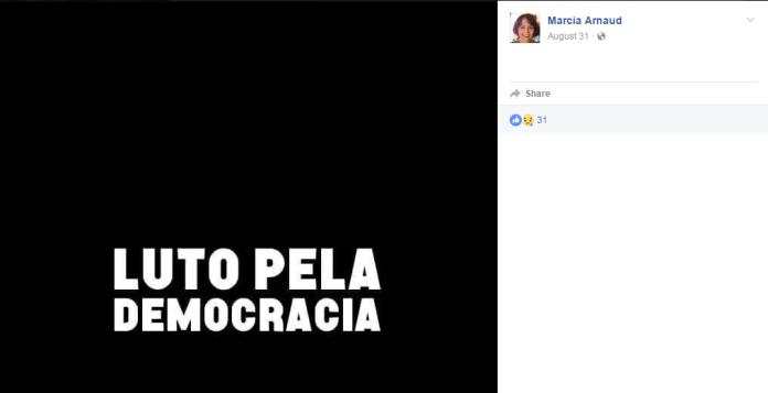 Imagem oficial do perfil de Márcia antes das eleições: democracia apenas quando convém