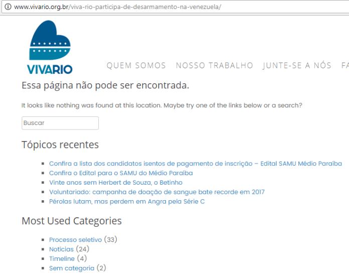 Texto em que o Viva Rio falava sobre a sua participação no desarmamento civil na Venezuela foi deletado do site oficial da ONG