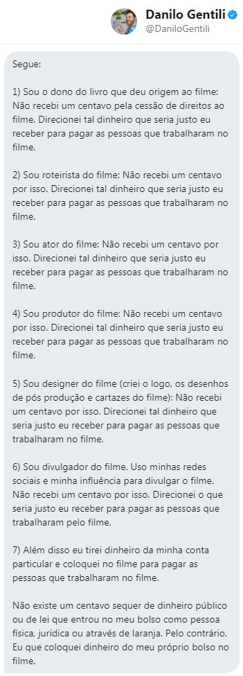Mensagem de Danilo Gentili enviada por meio do Twitter ao ILISP. Divulgada com autorização do apresentador