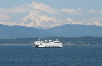 Washington State Ferry and Mt Baker (10,778 feet - 3,285 meters)