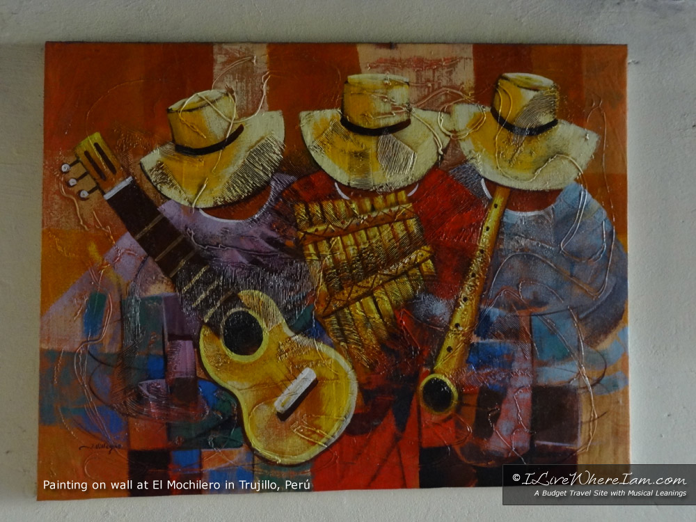 Peruvian Painting of Musicians - Found in El Mochilero Hostel, Trujillo, Peru