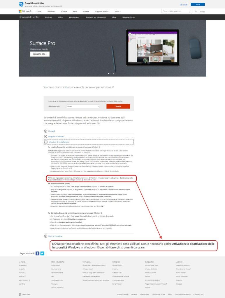 Le informazioni sulla nuova modalità di installazione sono a metà pagina. In un paragrafo che bisogna aprire cliccando.