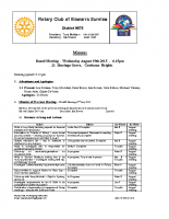 Rotary Board Minutes -Aug 19 2015