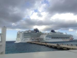 Norwegian Epic docking at Cozumel next to the smaller Norwegian Sun