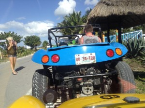 Ready to return to Cozumel Porto Langosta Plaza on the dune buggies from Playa Morena beach