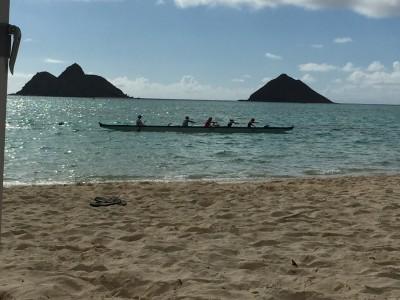 Moku Nui and Moku Iki with kayakers at Lanikai Beach