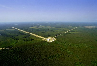 Aerial photograph of the LIGO Livingston Observatory gravitational waves