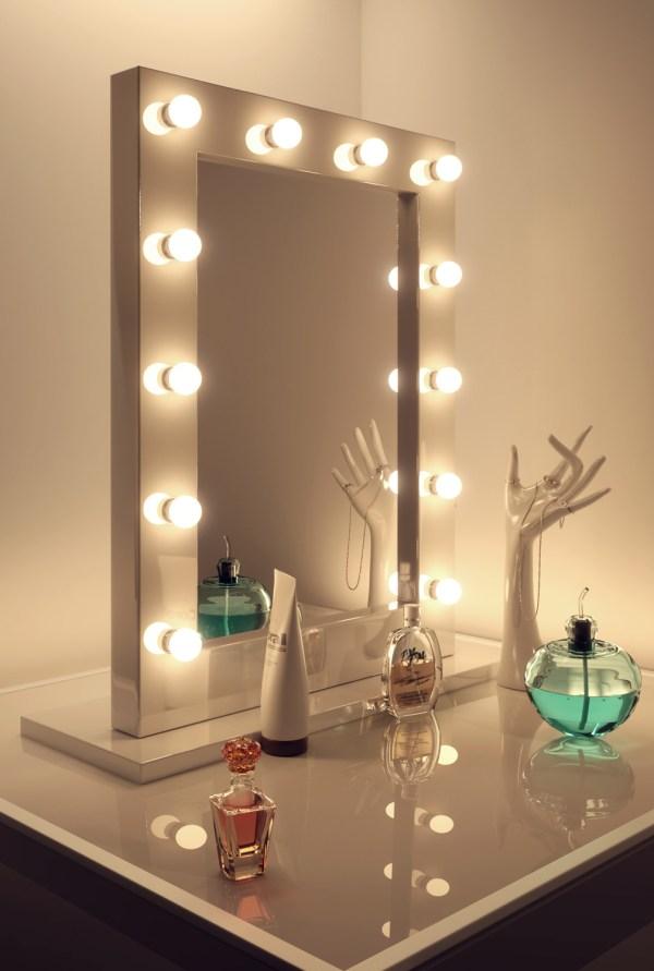 Miroir Loge Maquillage Hollywood Blanc Très Brillant K113 ...