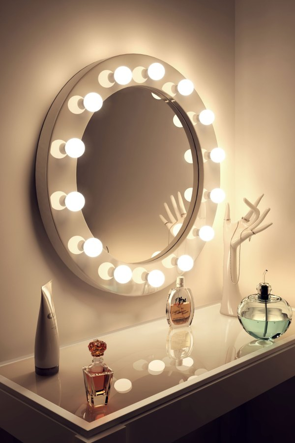 High Gloss White Round Hollywood Makeup Mirror with ...