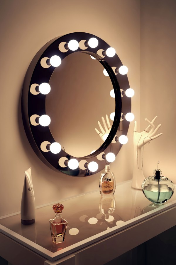 High Gloss Black Round Hollywood Makeup Mirror with ...