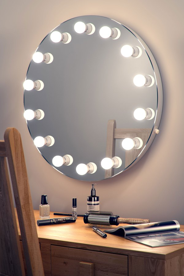 Round Hollywood Makeup Dressing Room Mirror with Dimmable ...