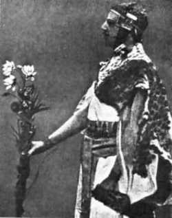 "Samuel Liddell ""MacGregor"" Mathers, in Egyptian costume, performs a ritual of Isis in the rites of the Golden Dawn."