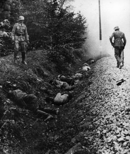 Germany burying corpses during WW II