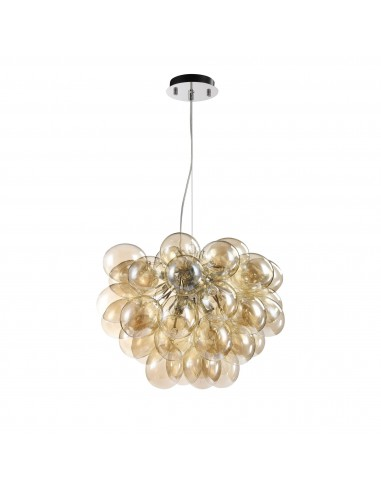 Questa imponente ed esclusiva lampada di illuminazione decorativa renderà la stanza brillare con gli effetti luminosi dei riflessi di vetro. Lampadario A Sospensione Balbo Sfere Vetro Ambra Grappolo Maytoni