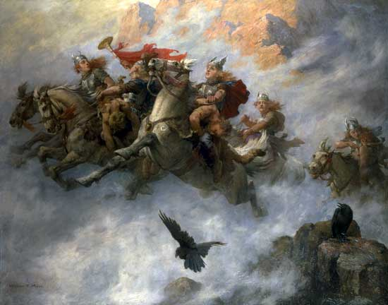 Valkyries carrying dead soldiers to Valhalla