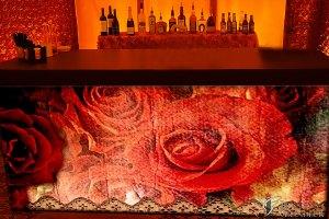 "Vintage Rose Bar 96"" x 30"" x 42""h"