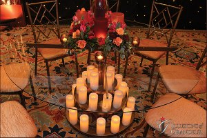 "Candle Tables 60"" Glass Tops x 30""h"