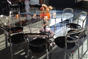 "Glowing Orb Tables 60"" Glass Tops x 30""h"