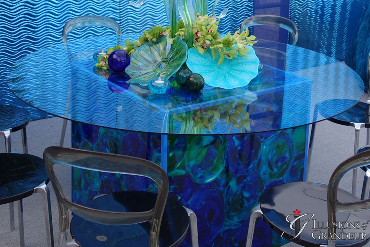 """Cube Tables / Glass Ball Image 60"""" round Glass Tops x 30""""h Different Images available"""