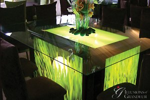 "Light-Box seated Tables / Golf Image 58"" x 68"" Glass Tops x 30""h Different Images available"
