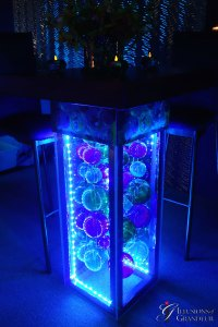 "LED Glass Ball Cocktail Tables Evening Photo 32"" x 32"" x 42""h"