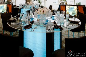 "Tall Light-Box Tables / blue Water Image 60"" round Glass Tops x 42"" high Different Images available"