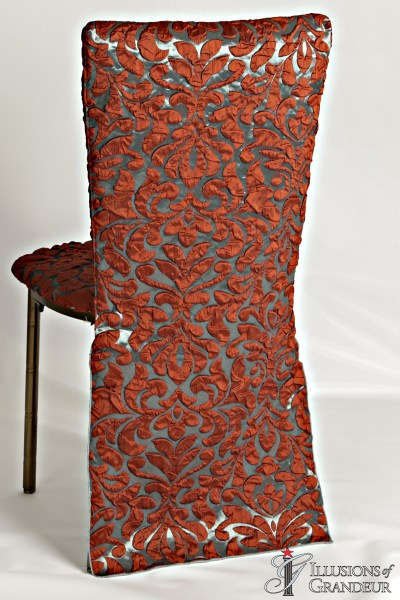 Bronze Diamond Chairs with Burnt Orange Damask Chair Back Cover