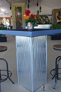 "Silver Metal Cocktail Tables 3""x32""x42""h"