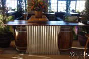 "Barrel Bar with Corrugated Metal 30""x96""x40""h"