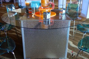 "Hammered Silver Tables 60"" round Glass x 30""h"