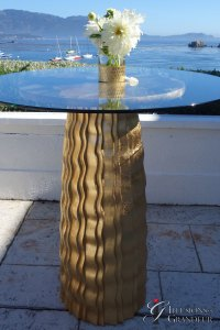 "Gold Wave Cocktail Tables 36"" round Glass x 40""h"