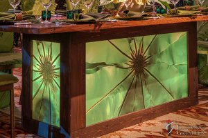 """Redwood Tables with Leaf Image 40"""" x 96"""" x 30""""h"""