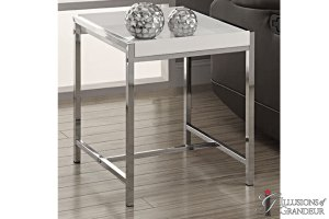 "White-Chrome-End-Tables 18""x18""x20&#;h"
