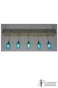 """Wood Boxes with teal Glass Pendants 9""""x72""""x30""""H"""