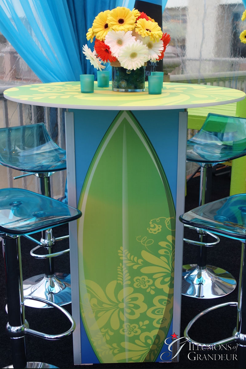 Green Surfboard Cocktail Tables