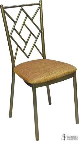 Bronze Diamond Chairs with Rust Crinkle Cushion