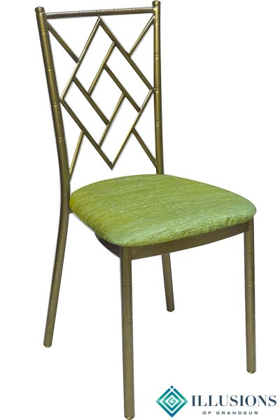 Bronze Diamond Chairs with Green Crinkle Cushion